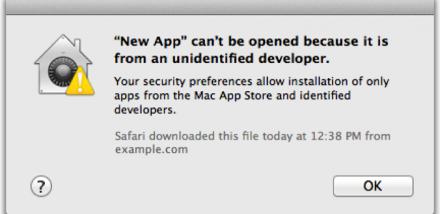 how to turn off unidentified developer mac