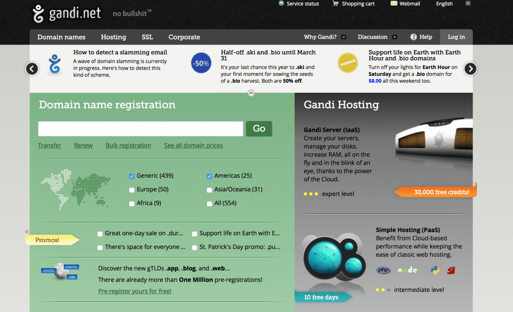 GANDI is a domain name registrar and cloud hosting company. Free website, SSL certificate, blog, and e-mail included. VPS dedicated virtual servers, cloud hosting.